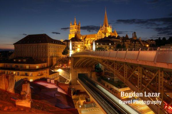 Catedrala din Lausanne vazută de pe podul Bessieres, Elveția
