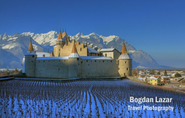 Chateau d'Aigle in winter, Switzerland