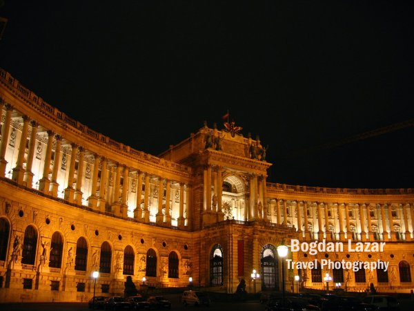 Austrian National Library at night, Vienna