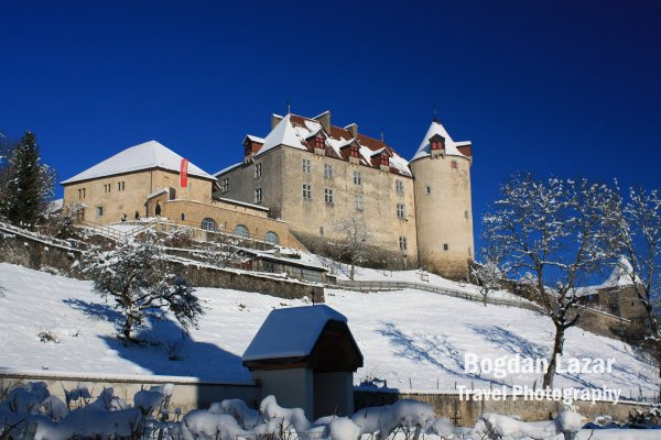 Chateau de Gruyere in winter, Switzerland