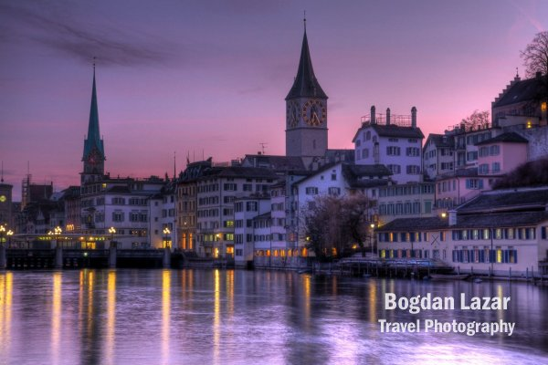 Apus de soare peste Zurich, Elveția