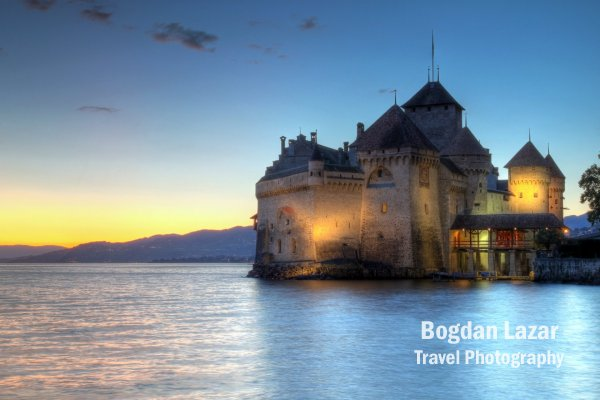 Chateau de Chillon in the sunset, Montreux, Switzerland