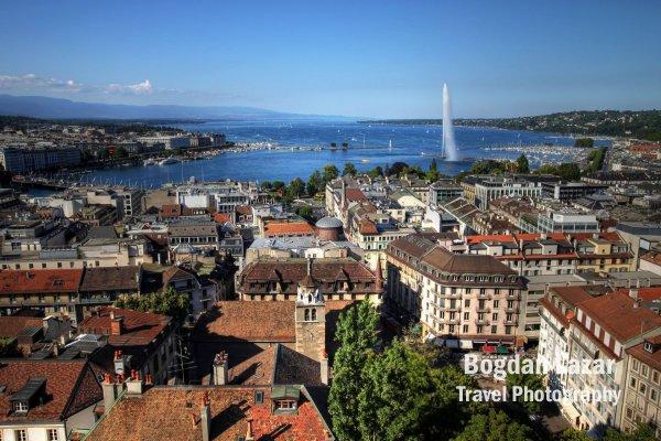 Aerial overview of Geneva, Switzerland