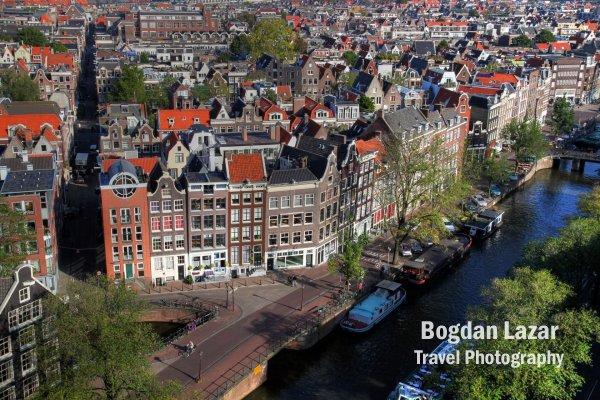 Canal în Amsterdam văzut de sus, Olanda