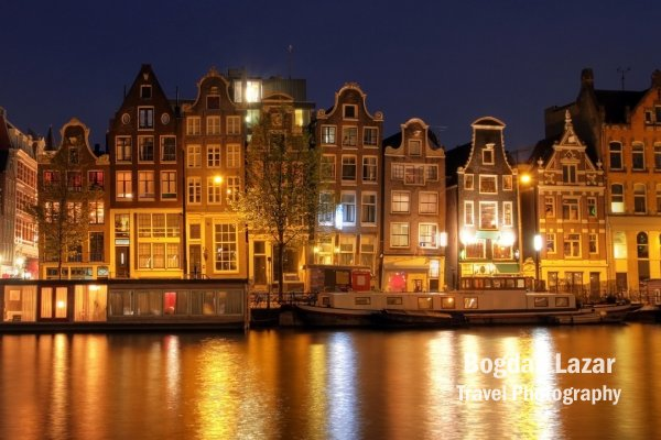 Amsterdam waterfront houses at night, The Netherlands