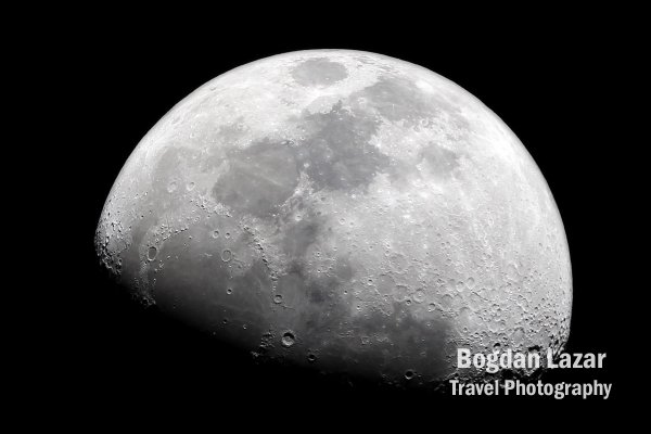 Waxing gibbous moon at night
