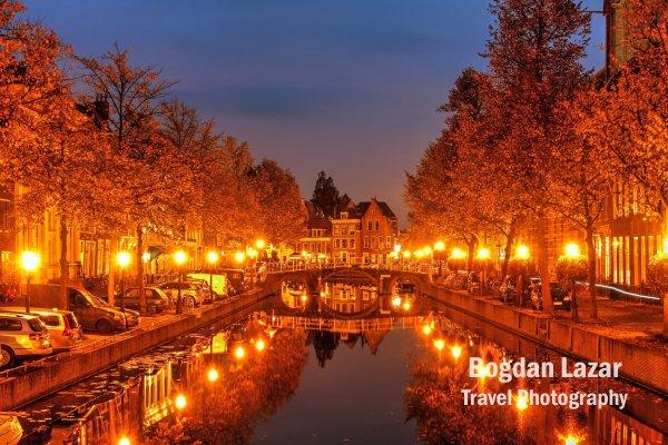 Autumn night in Leiden, Netherlands