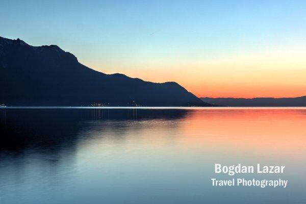 Sunset abstract over Lake Geneva, Switzerland