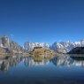 Mont Blanc reflecting in Lake Blanc, Chamonix, France
