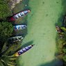 Aerial of boats on White River, near Ocho Rio, Jamaica